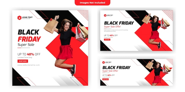 Design de modelo de banner de mídia social black friday