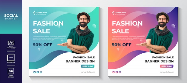 Design de modelo de banner de mídia social de instagram colorido gradiente de venda de moda