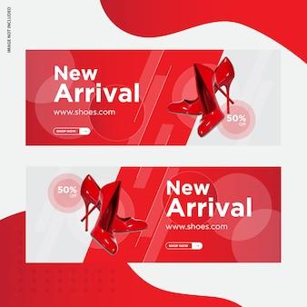 Design de modelo de banner de mídia social de venda de sapatos