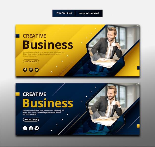 Design de modelo de banner de negócios criativos.