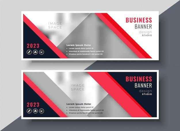 Design de modelo de banner de negócios ou apresentação de tema vermelho