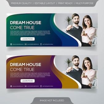 Design de modelo de banner de promoção imobiliária
