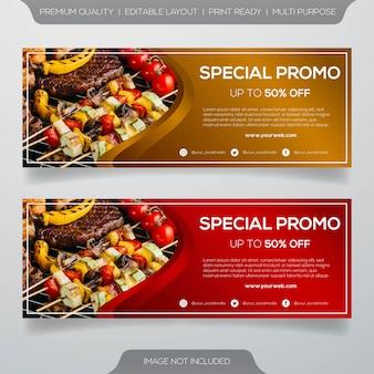 Design de modelo de banner de restaurante de churrasco