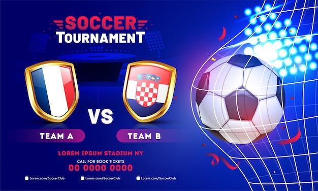 Design de modelo de banner de torneio de futebol com bola de futebol e equipes