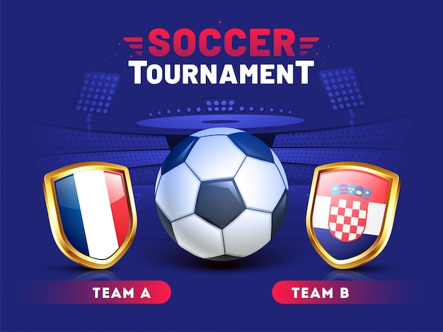 Design de modelo de banner de torneio de futebol com ilustração de bola de futebol e equipes