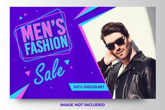 Design de modelo de banner de venda de moda masculina