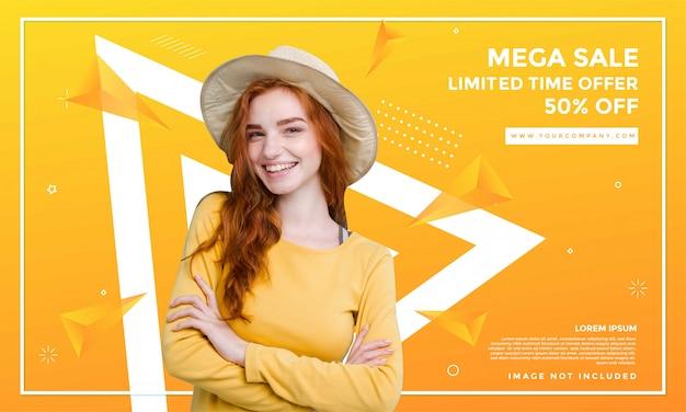 Design de modelo de banner de venda de moda