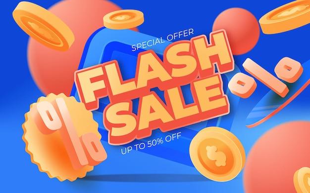 Design de modelo de banner de venda flash. ilustração em vetor.