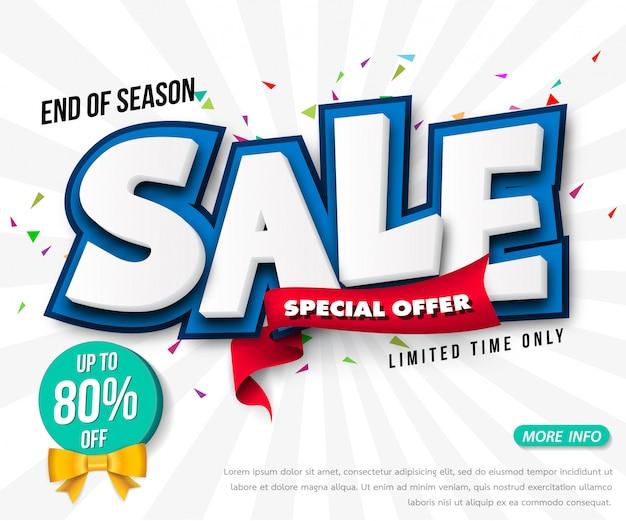 Design de modelo de banner de venda, grande venda especial até 80% de desconto. super venda, banner de oferta especial de fim de temporada.