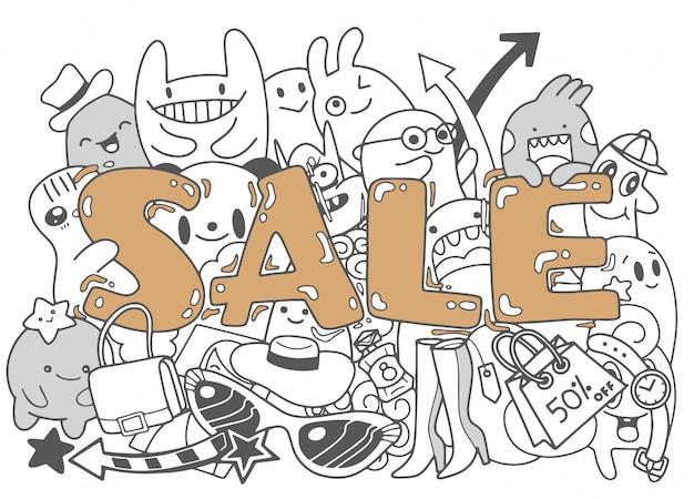Design de modelo de banner de venda, ilustração de doodle bonito