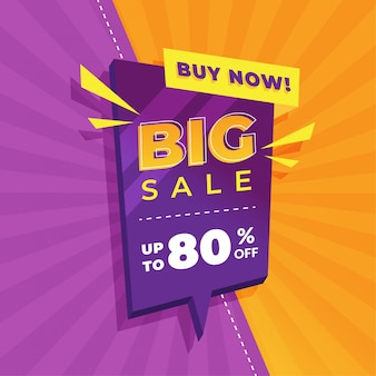 Design de modelo de banner de venda, oferta especial de grande venda