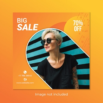 Design de modelo de banner de venda quadrada para instagram