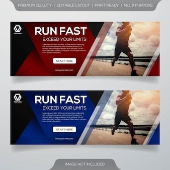 Design de modelo de banner de web de maratona