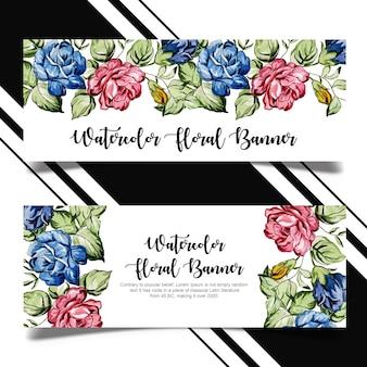Design de modelo de banner floral aquarela