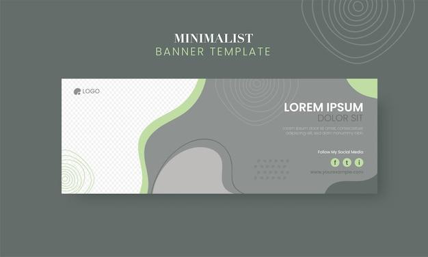 Design de modelo de banner minimalista abstrato com espaço de cópia na cor cinza e branca.