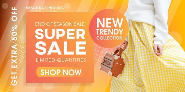 Design de modelo de banner moda moda super venda