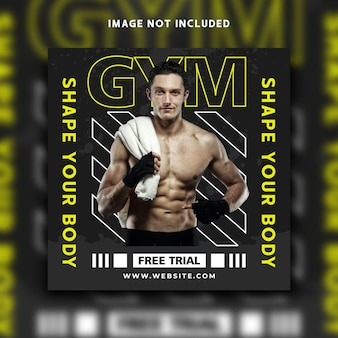 Design de modelo de banner pós instagram de mídia social fitness