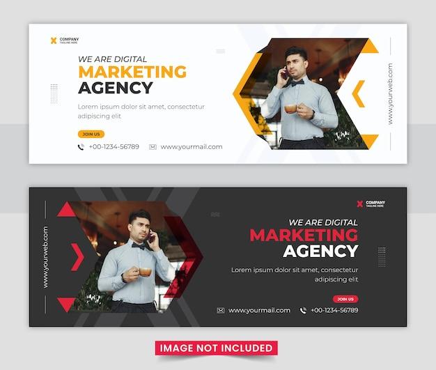 Design de modelo de banner profissional para agência de marketing digital