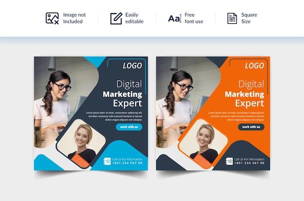 Design de modelo de banner social para promoção de marketing digital corporativo