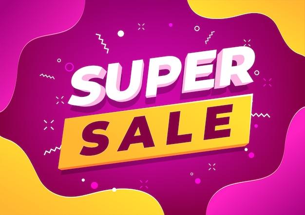 Design de modelo de banner super venda, oferta especial de grande venda.