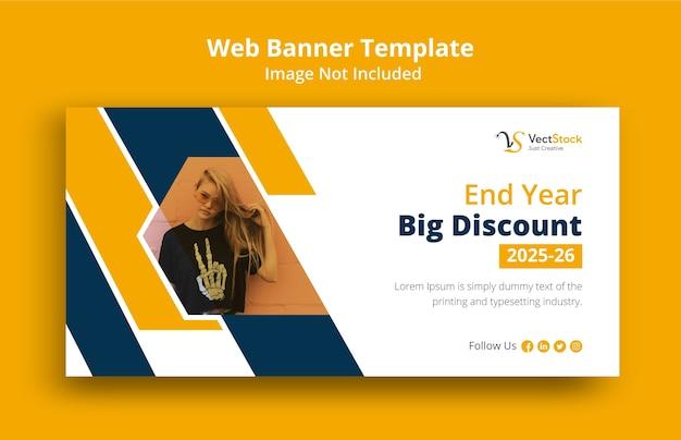 Design de modelo de banner web com grande desconto de fim de ano
