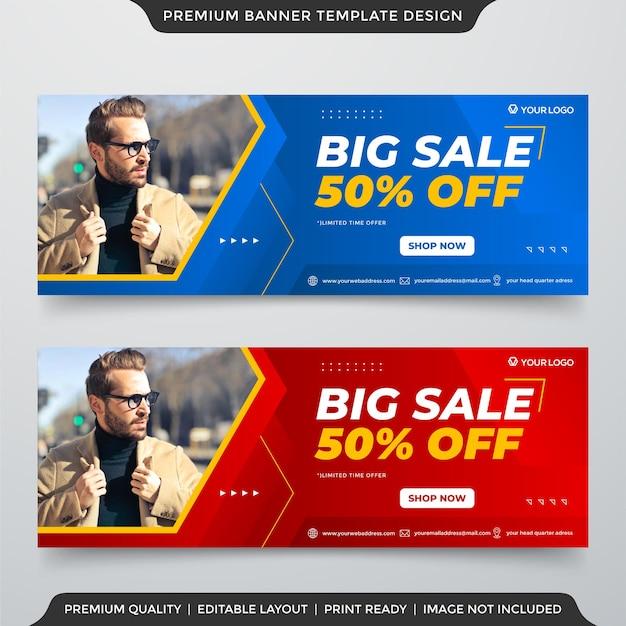 Design de modelo de banner web de moda em grande venda com estilo abstrato