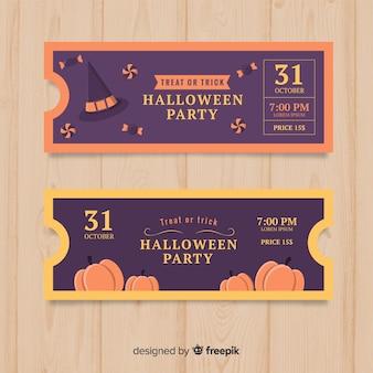 Design de modelo de bilhete de halloween