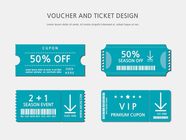 Design de modelo de bilhete ou voucher