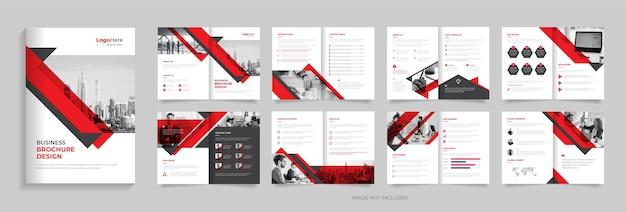 Design de modelo de brochura de 16 páginas de negócios cor vermelha formas criativas vetor premium