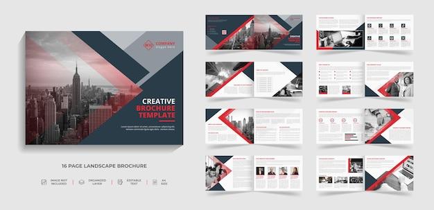 Design de modelo de brochura de negócios modernos corporativos de paisagem criativa