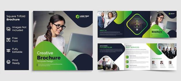 Design de modelo de brochura de negócios triplo quadrado criativo