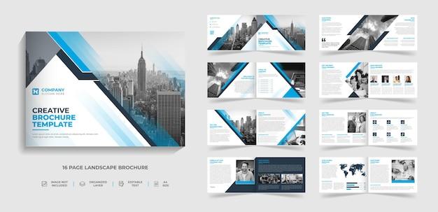 Design de modelo de brochura de paisagem moderna criativa corporativa de 16 páginas com forma criativa abstrata