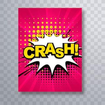 Design de modelo de brochura de texto belo acidente em quadrinhos