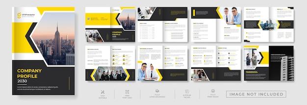 Design de modelo de brochura editável de 16 páginas, moderno e bifold multiuso