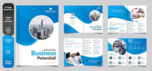 Design de modelo de brochura - negócios corporativos de 8 páginas