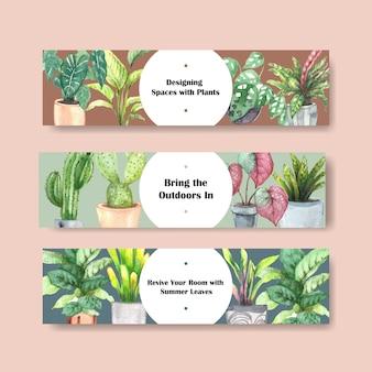 Design de modelo de cabeçalho de plantas de verão