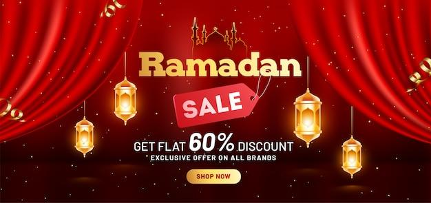 Design de modelo de cabeçalho ou banner de venda de ramadã com oferta de 60% de desconto