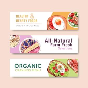 Design de modelo de cabeçalho panorâmico de comida saudável