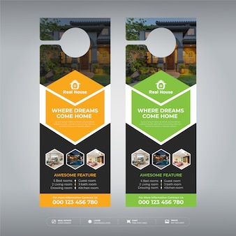 design de modelo de cabide de porta de negócios imobiliários modernos