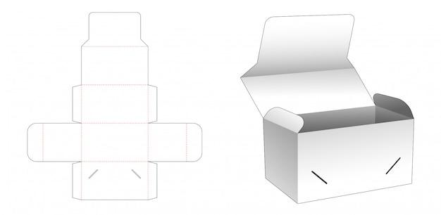 Design de modelo de caixa de embalagem de bolo cortado