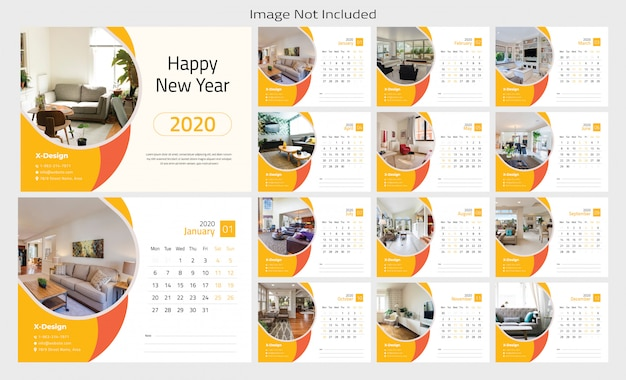 Design de modelo de calendário de mesa 2020