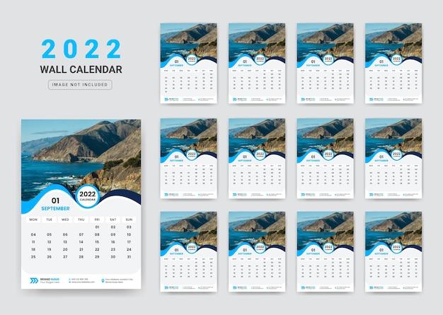Design de modelo de calendário de parede 2022