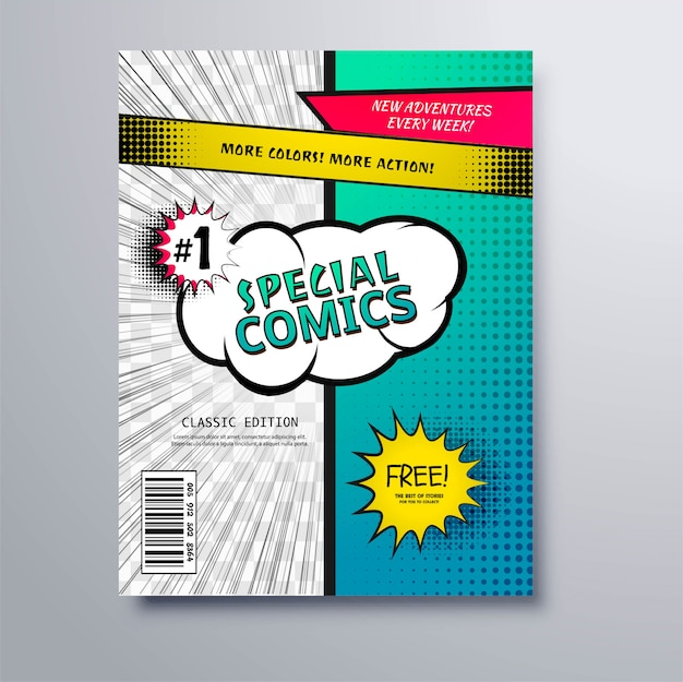 Design de modelo de capa de quadrinhos especiais