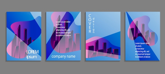 Design de modelo de capa de vetor abstrato minimalista com vista da cidade