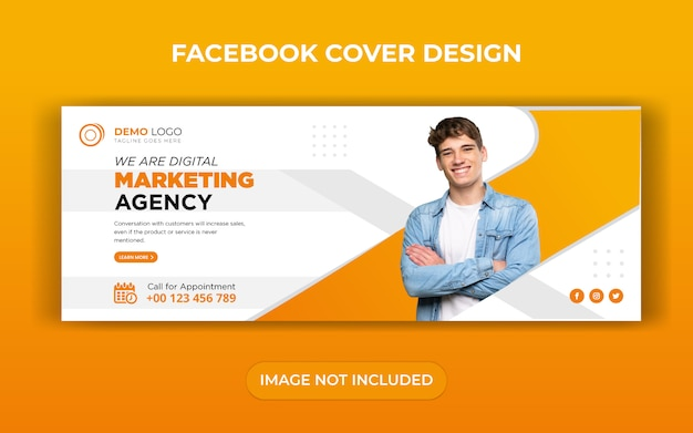 Design de modelo de capa para facebook marketing digital de negócios