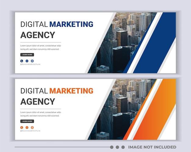 Design de modelo de capa promocional de mídia social para agência
