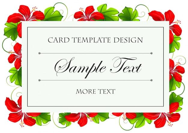 Design de modelo de cartão com flores vermelhas