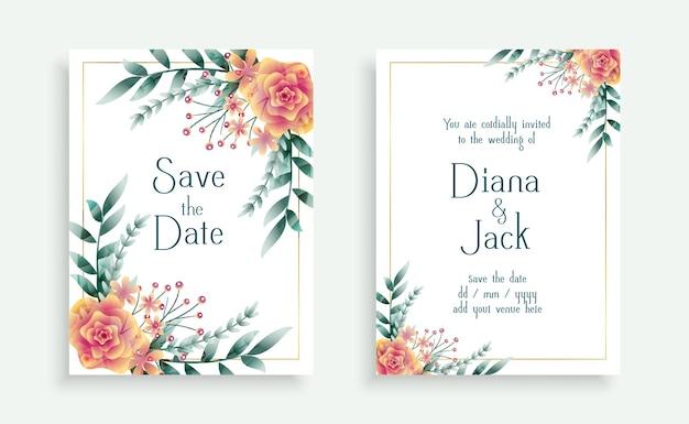 Design de modelo de cartão de casamento com flores decorativas