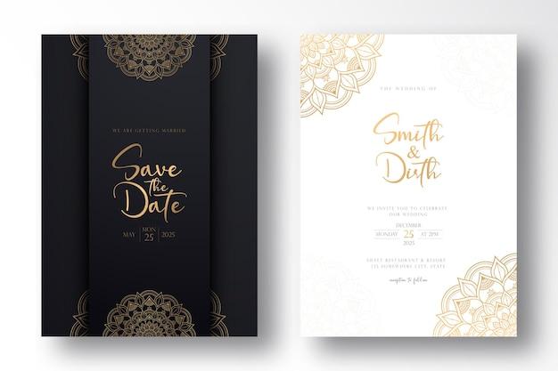 Design de modelo de cartão de casamento de luxo com mandala de luxo em estilo de contorno