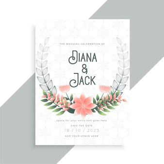Design de modelo de cartão de casamento floral com flores decorativas